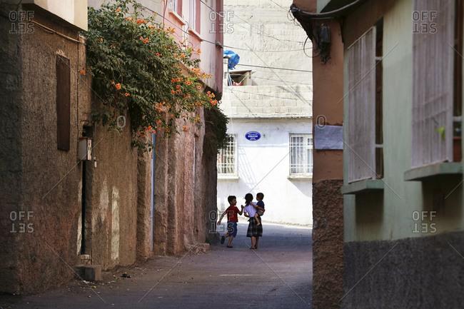turkey, turkey, gaziantep - September 20, 2018: Children playing on street, Gaziantep, Anatolia, Turkey