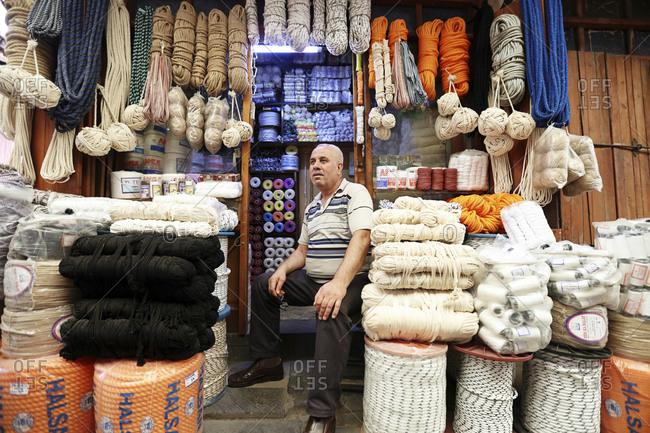 turkey, turkey, gaziantep - September 20, 2018: A yarn trader in Gaziantep Ban �recon �lar Bazaar