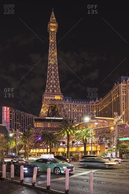 United States, nevada, las vegas - August 2, 2018: Las Vegas Boulevard at night, Las Vegas, Nevada, USA