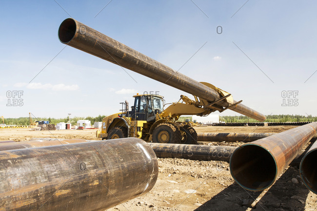 Canada, Alberta, Fort McMurray - August 5, 2012: Pipeline construction, Fort McMurray, Alberta, Canada