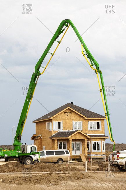 Canada, Alberta, Fort McMurray - July 31, 2012: New houses being built in Fort MacMurray to house tar sands workers, Fort McMurray, Alberta, Canada