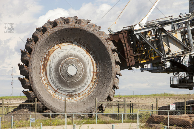 Bucket wheel by Syncrude upgrader plant, Fort McMurray, Alberta, Canada