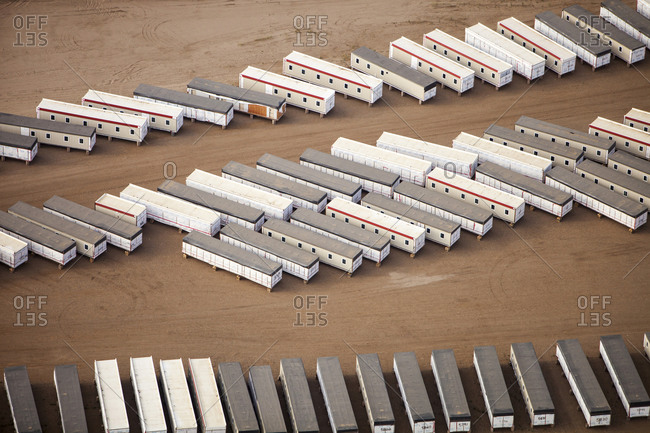 Portacabins at a Tar sands mine north of Fort McMurray, Alberta, Canada.