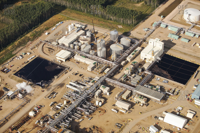 A SAG D (Steam assisted Gravity Drainage) tar sands plant north of Fort McMurray.
