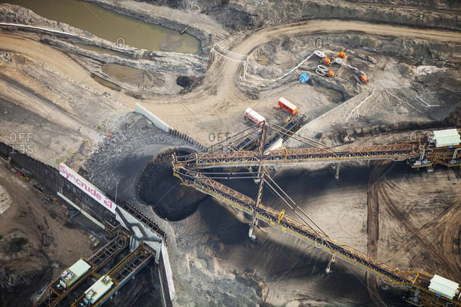 Canada, Alberta, Fort McMurray - August 11, 2012: Tar sands deposits being mined north of Fort McMurray, Alberta, Canada.