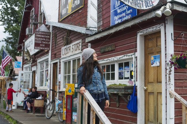 USA, AK, Talkeetna - July 16, 2018: Tourist visiting riverside town, Talkeetna, Alaska, USA
