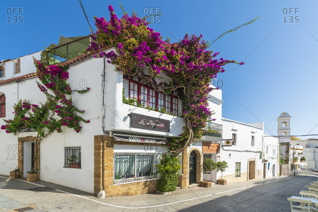 Spain, Andalusia, Conil de la Frontera - September 4, 2018: Traditional house, Conil de la Frontera,  Cadiz Province, Spain