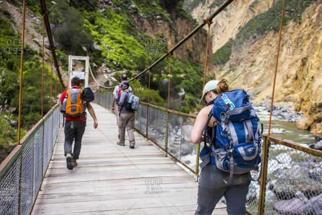 Peru, Peru, Cusco - April 5, 2015: Moments on the Salkantay Trek to Machu Picchu in Peru.
