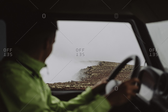 Man looking through window, Tenerife, Canary Islands, Spain