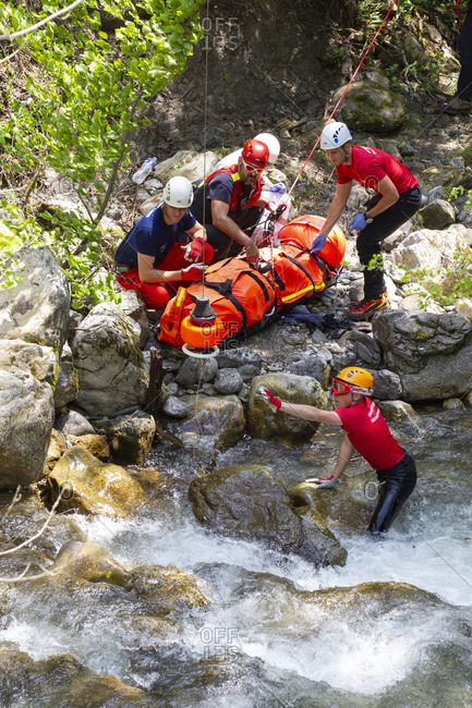 France, Haute Savoie, Annecy - May 19, 2018: Rescue crew evacuating injured motorcycle rider, Annecy, Haute Savoie, France