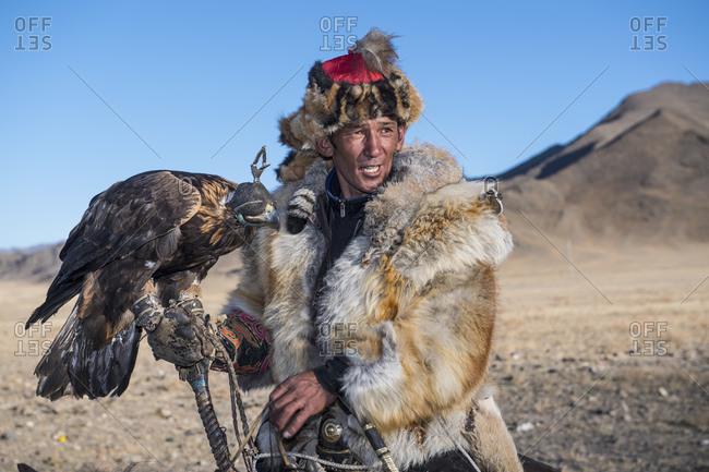 Mongolia, Bayan-Olgiy, Olgiy - October 6, 2018: Nomadic eagle hunter Oligemic Bayan-Olgiy, Mongolia