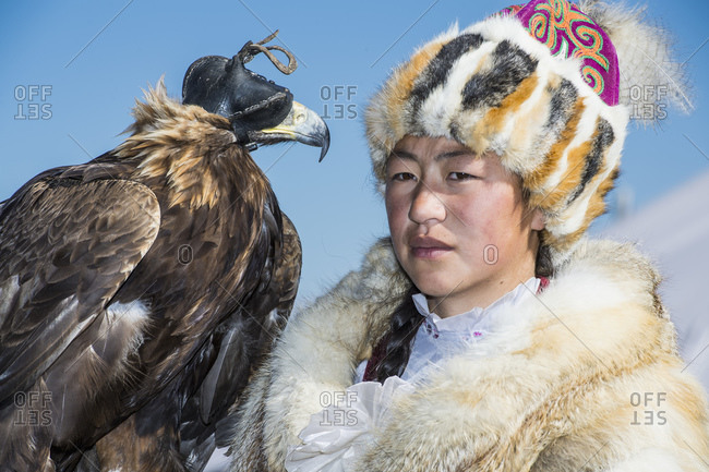 Mongolia, Bayan-Olgiy, Olgiy - October 7, 2018: Female nomadic eagle hunter Oligemic Bayan-Olgiy, Mongolia