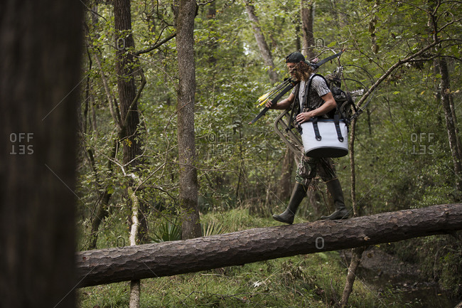 Deer hunter with bow and arrow walking in forest, Bear Creek Reserve, Georgia, USA