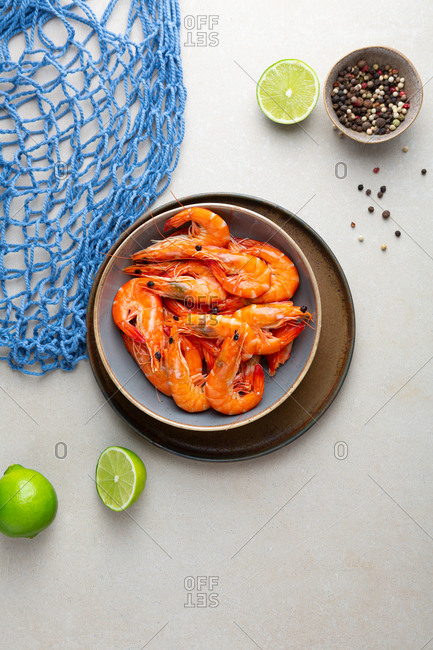 Overhead view of shrimp in bowl