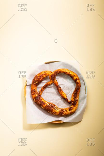Overhead view of cinnamon German bagel