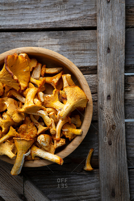 Overhead view of chanterelles mushrooms in bowl