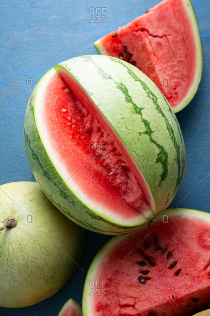 Close up of sliced ripe watermelons