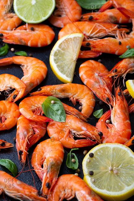 Close up of seafood on dark sheet
