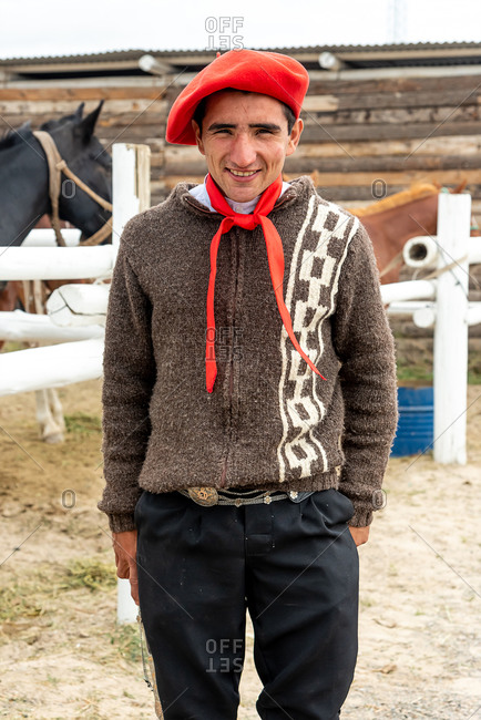 November 11, 2019: Portrait of a Gaucho rider in a Gaucho rodeo. Puerto Madryn, Argentina