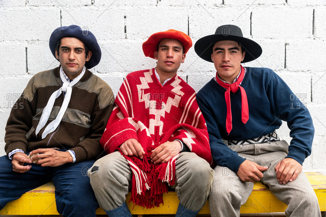 November 11, 2019: Portrait of cowboys in a Gaucho rodeo. Puerto Madryn, Argentina