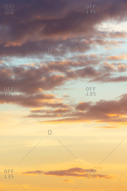 Evening light on clouds at sunset