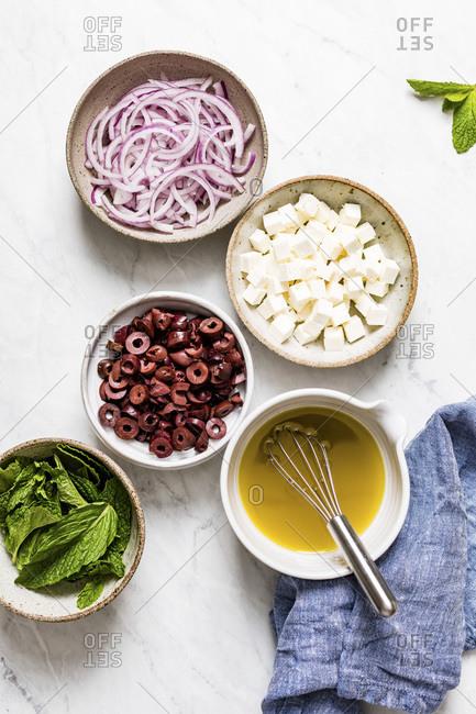 Lentil Quinoa Salad ingredients freshly put together