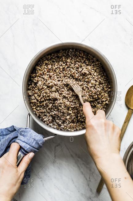 Big bowl of cooked quinoa