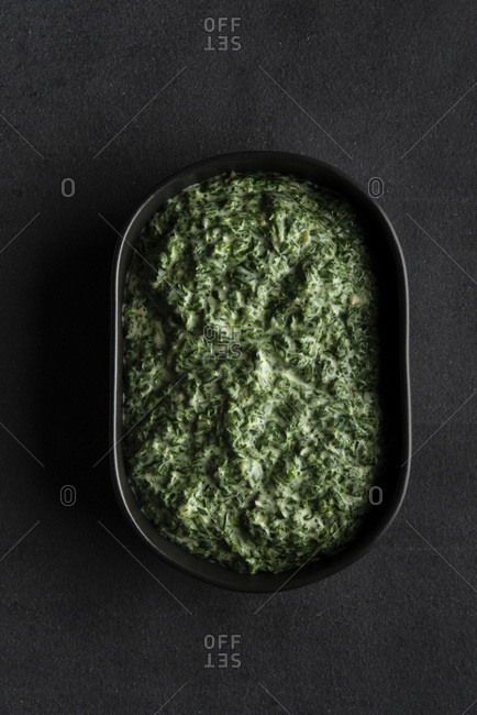 Creamed spinach served and ready to eat