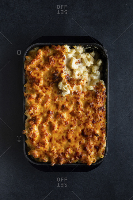 Macaroni cheese in a dish ready to eat