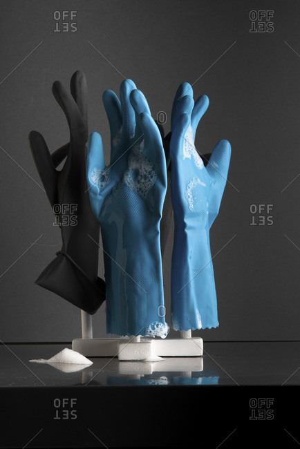 Rubber dish washing gloves set out