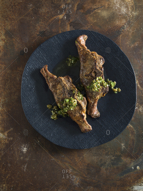 Saddle loin hogget chop with salsa verde