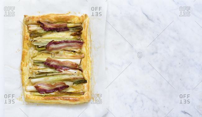 Leek, Camembert and bacon tart