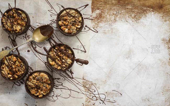 Chocolate hazelnut frangipane tart ready to eat