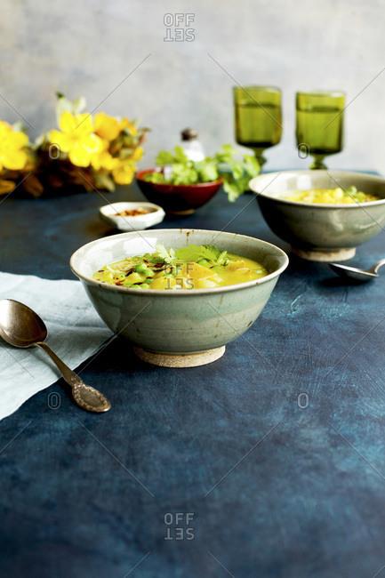 Potato and Pea Curry Soup