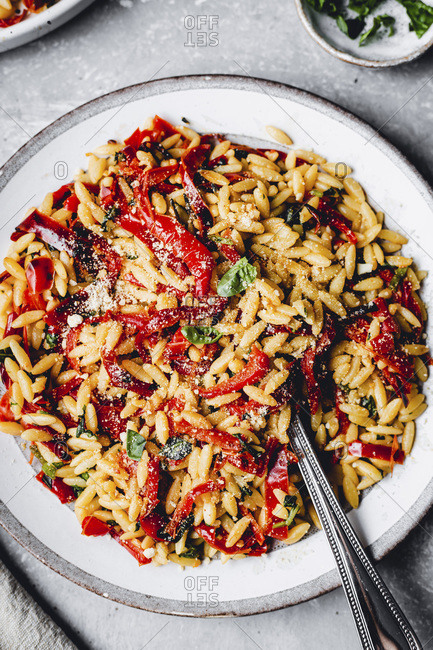 Red Pepper Pasta with basil and orzo