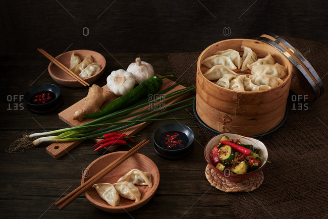 Chinese steamed dumplings made by vegetables and pork.