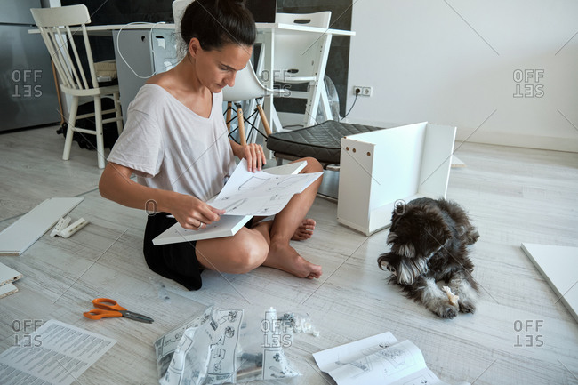 Concentrated young female sitting on floor near dog and reading paper instruction while installing new furniture in modern apartment