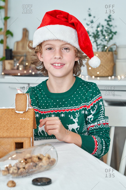 Happy little boy in red Santa hats sitting at table and decorating gingerbread houses with icing while preparing for Christmas celebration at home looking at camera
