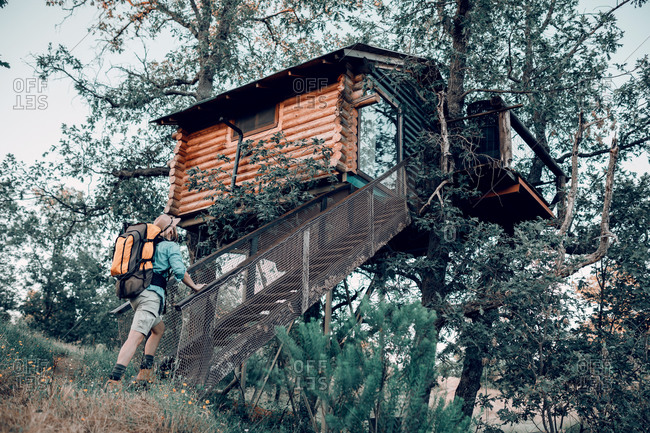Low angle back view of male traveler with backpack walking up the stairs in a cabin house on tree