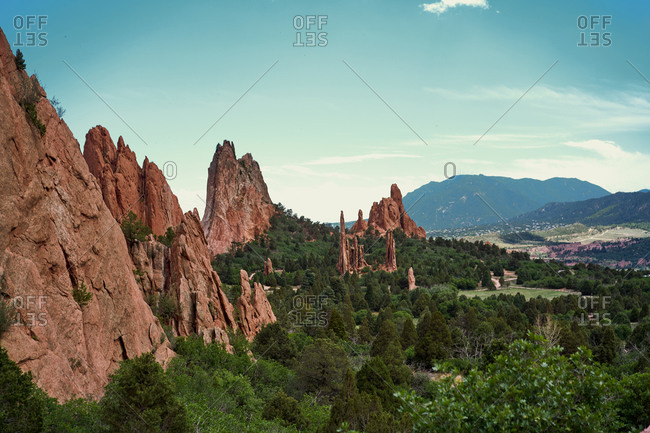 Breathtaking landscape of valley with rocks trees in Garden of the Gods in Colorado