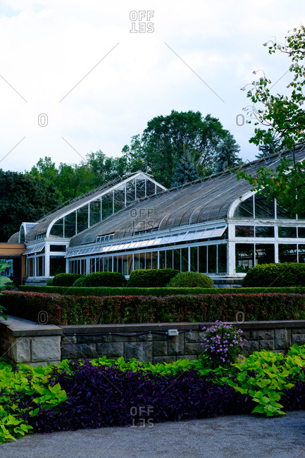Exterior of a large greenhouse and botanical garden