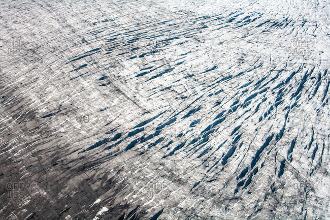 Aerial image of rough snowy landscape in Iceland
