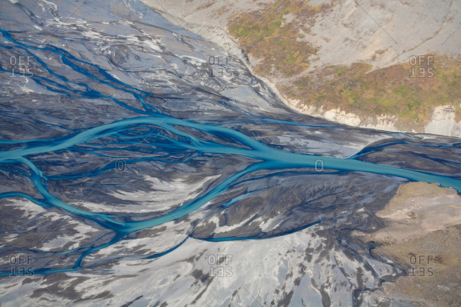 Abstract view of rivers and streams running through rural Iceland