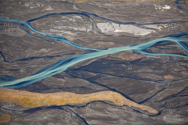Icy blue rivers and streams in rural Iceland