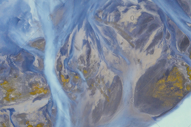 Abstract view of blue river waters in rural Iceland