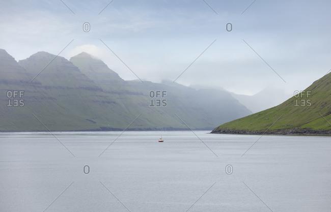 Breathtaking view of low-lying clouds in the Faroe Islands