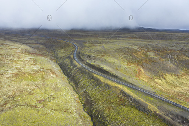 Paved mountain road in Iceland