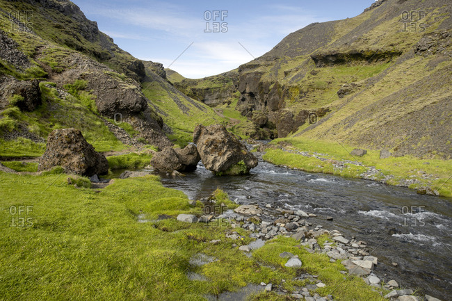 River flowing through green Icelandic landscape