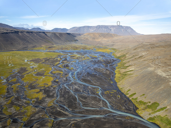 Beautiful view of river and streams flowing through the Icelandic highlands