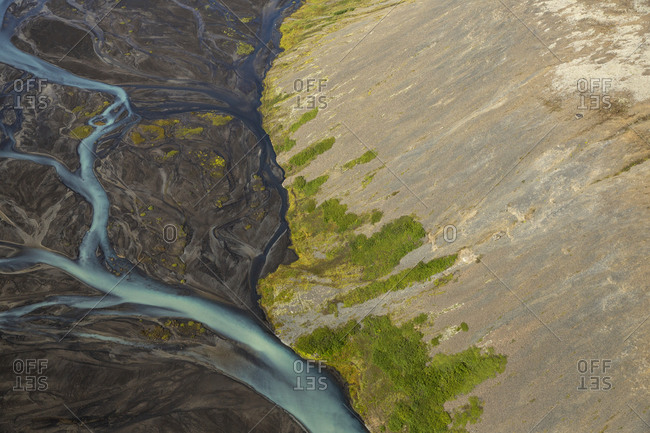 Abstract view of river and streams flowing in Icelandic highlands